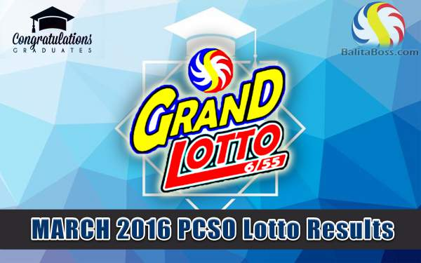 Image: March 2016 PCSO Grandlotto 6/55