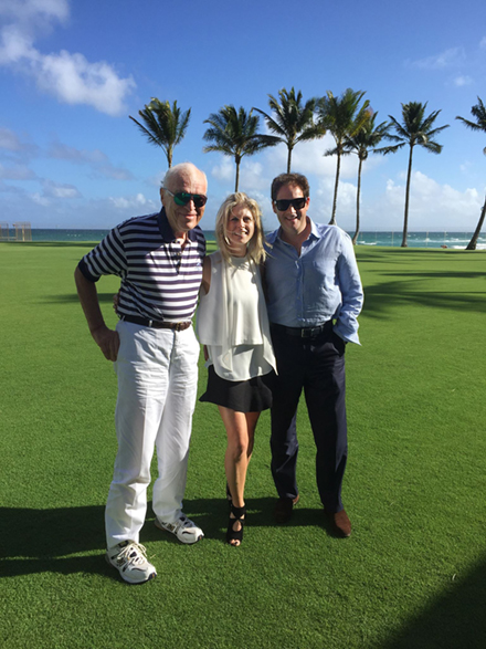 Marla Malcom Beck and Barry Beck with Leonard Lauder in Palm Beach