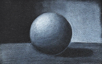 high contrast 3D drawing of sphere  with bright light and dark shadows