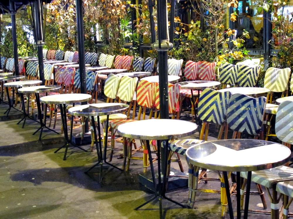 Empty Paris brasserie seats