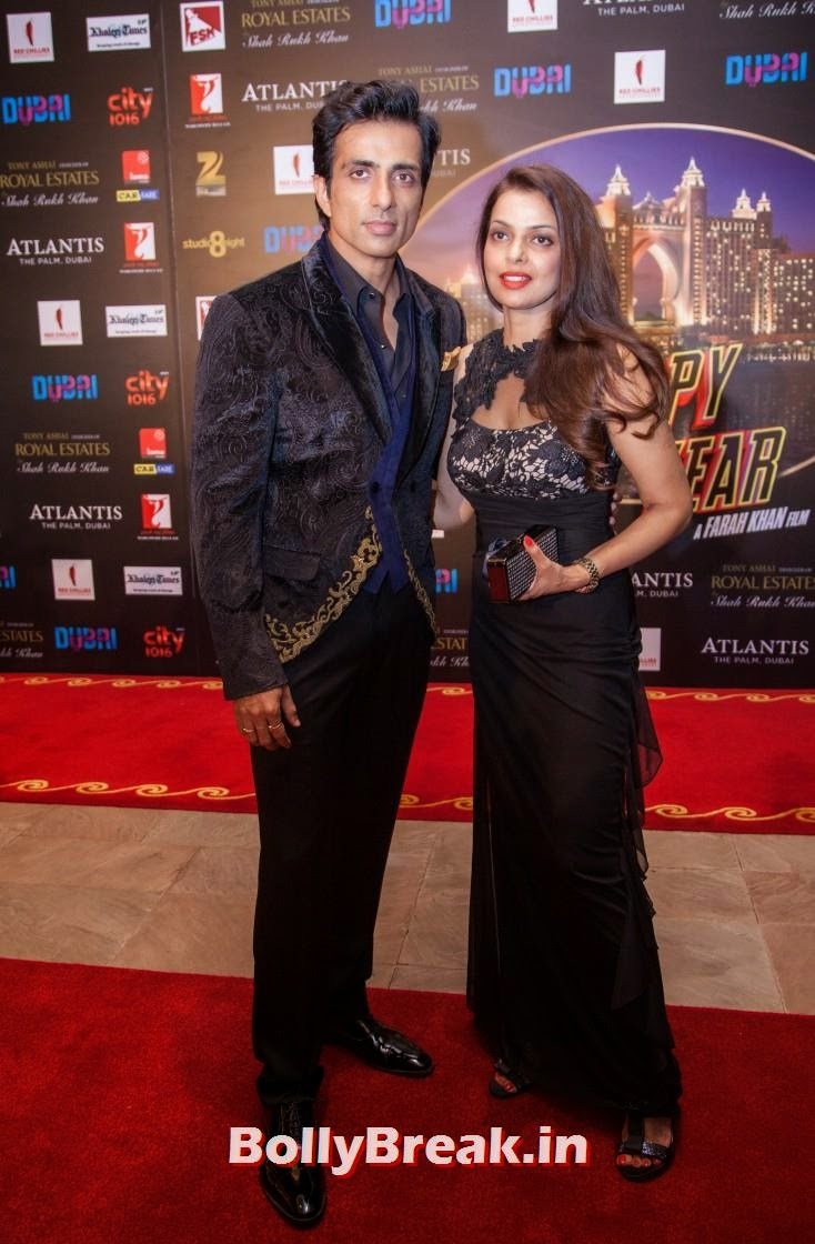 Sonu Sood with his wife, Happy new Year Dubai Premiere Photos