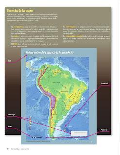 Apoyo Primaria Atlas de Geografía del Mundo 5to. Grado Capítulo 1 Lección 3 Elementos de los Mapas