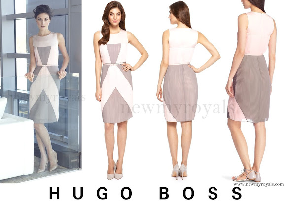 Princess Sofia wears Hugo Boss Divallery accordion pleat dress. newmyroyals