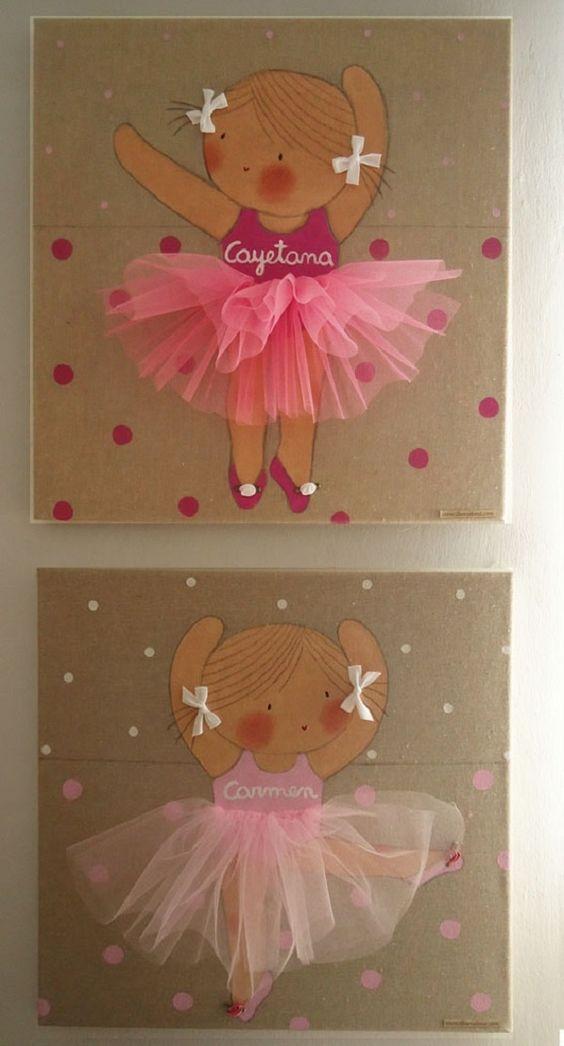 21 cuadros decorativos para habitaciones de ni as haz - Cuadros bailarinas infantiles ...