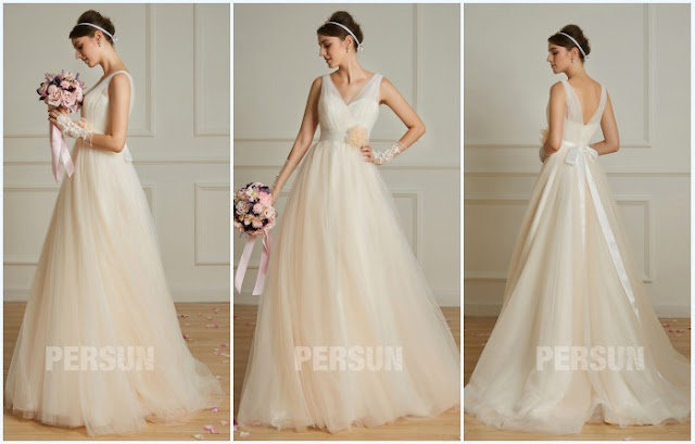 robe de mariée champagne style bohème col en V