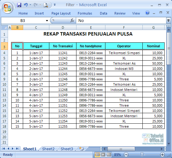 Filter di Excel