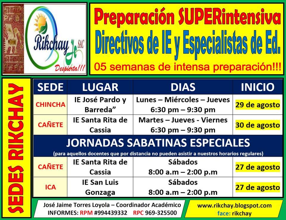 Organizaci n educativa rikchay jc descarga plazas for Plazas vacantes concurso docente 2016