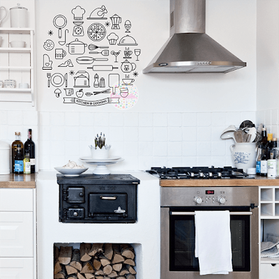 vinilo decorativo cocina restaurant figuras