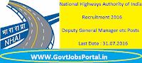 National Highways Authority of India Recruitment 2016