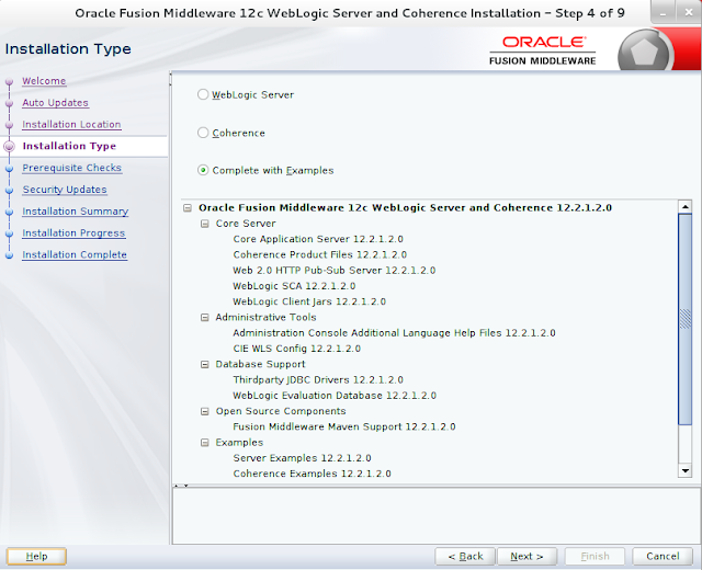 Weblogic Server Installation wizard screen 4