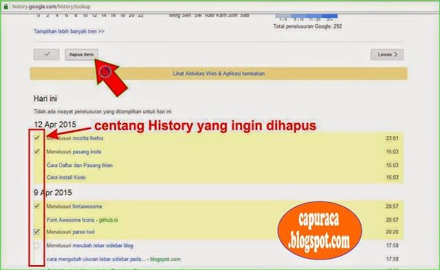 Cara menghapus Google search history,centang history yang ingin dihapus,