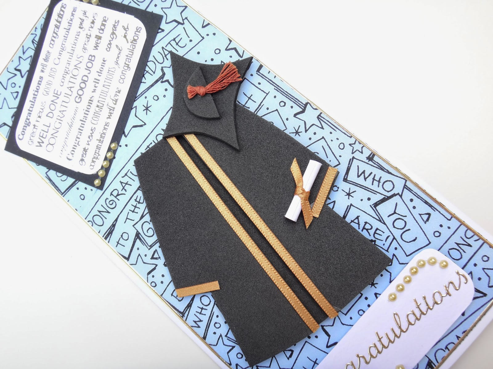 Hand made graduation card with miniature cap and gown