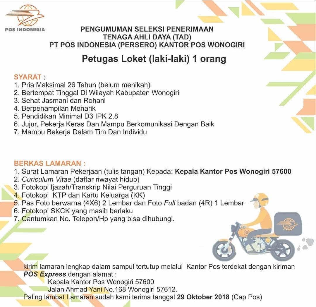 Lowongan Kerja Bumn Fresh Graduate Pt Pos Indonesia Persero Terbaru Ruangankerja