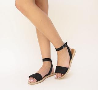 sandale negre de catifea fara toc pentru vara
