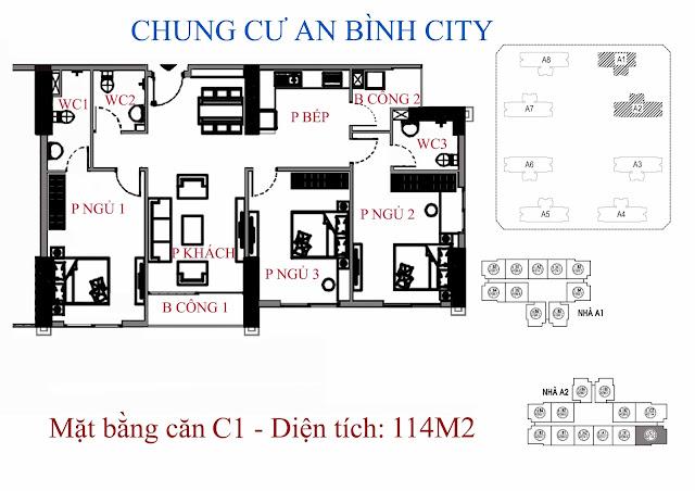 mặt bằng căn hộ c1 - Diện tích 114m2