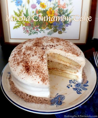 Mocha Cinnamon Cake is a moist white cake with a light whipped frosting and dusted with coffee, chocolate and cinnamon flavors. | Recipe developed by www.BakingInATornado.com | #recipe #cake