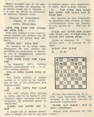 Partida de ajedrez Albareda - Puig, Nuevo Ajedrez nº 5 - Julio 1957