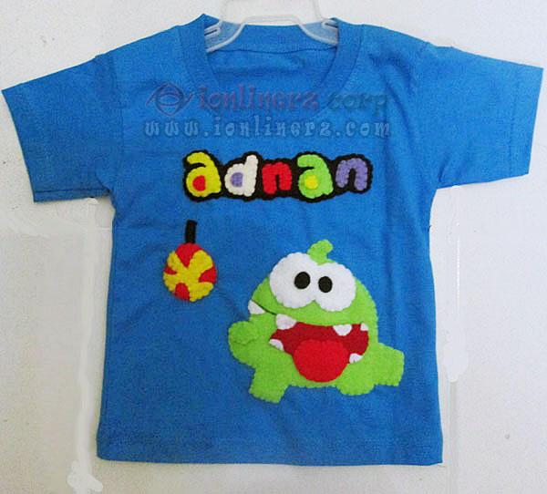 Kaos / Baju Flanel Anak Karakter Kartun Om Nom