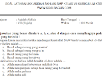 Soal UKK/ UAS Akidah Akhlak Kelas 7 MTs Semester 2