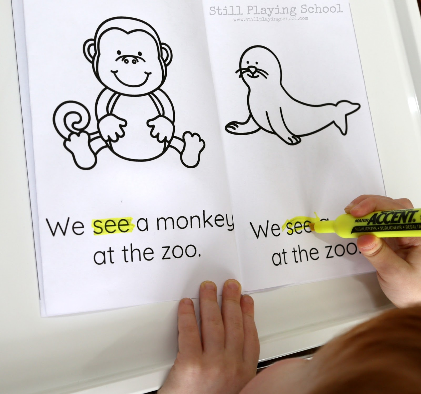 zoo emergent reader sight word book