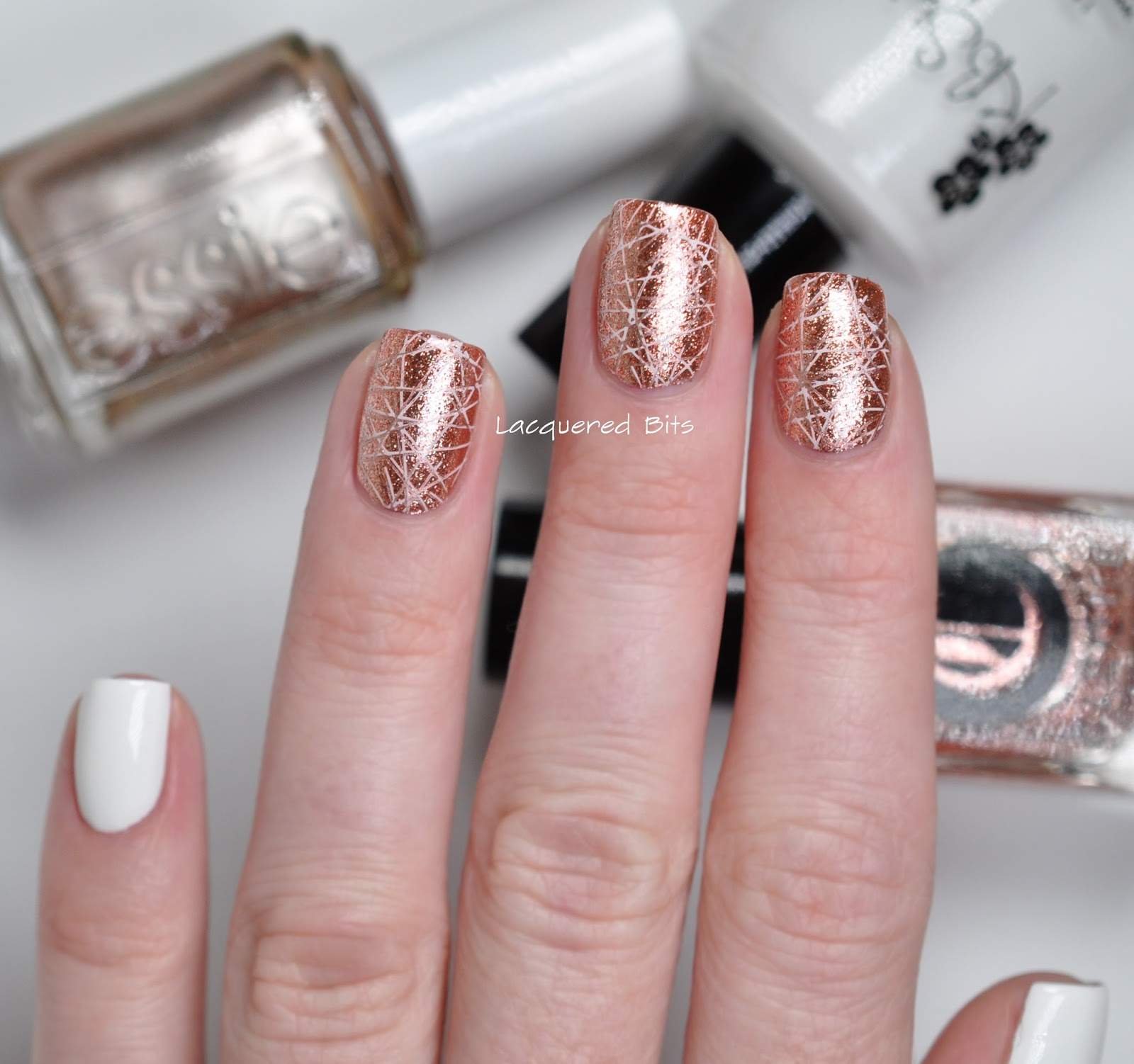 Essie Metallic Gold Nail Polish: New Year's Rose Gold Manicure