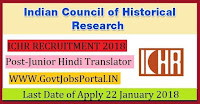 Indian Council of Historical Research Recruitment 2018 – 15 Junior Hindi Translator