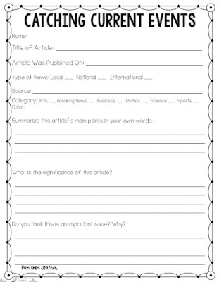 science article summary template - 5 websites for incorporating current events in the