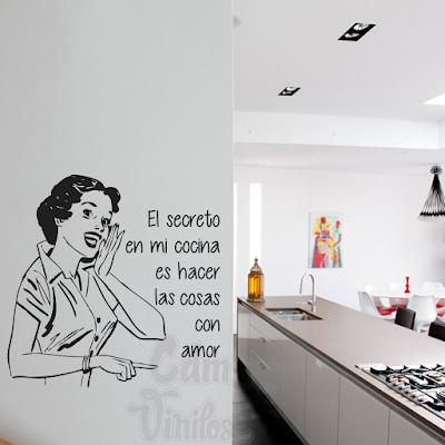 vinilo decorativo cocina secreto pared retro mujer