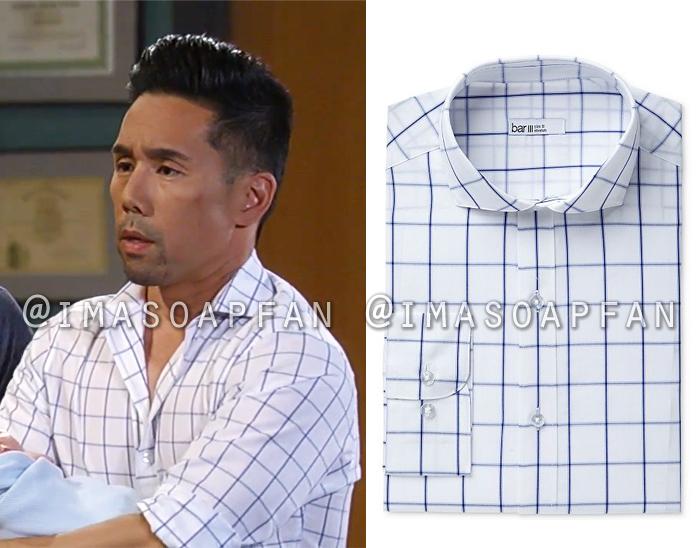 Brad Cooper, Parry Shen, White and Blue Windowpane Check Dress Shirt, Bar III, General Hospital, GH