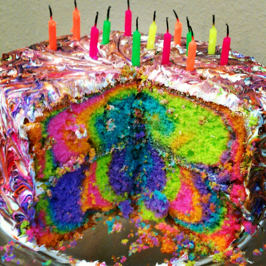 Moonruffle Tie Dye Birthday Cake