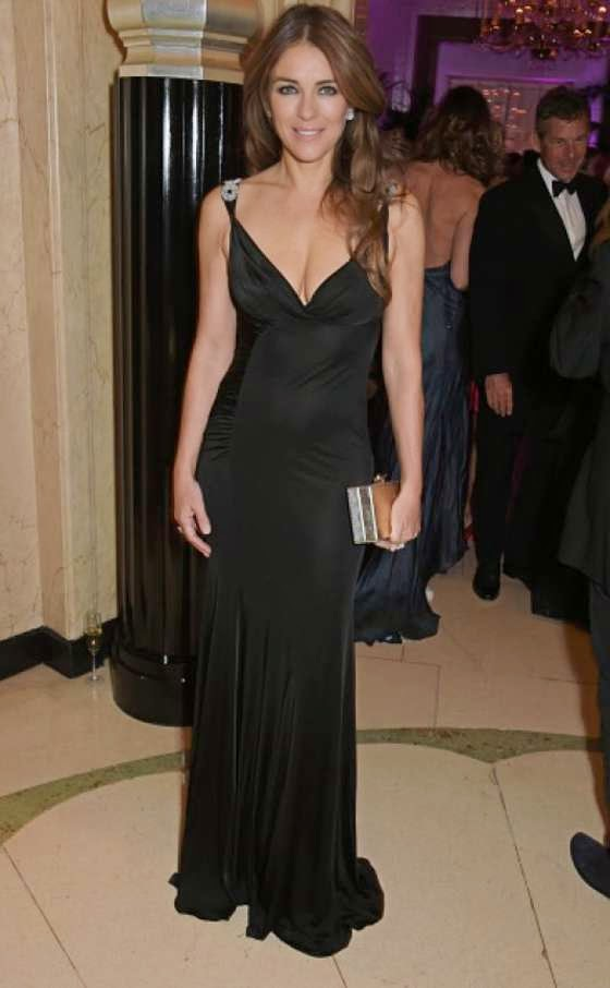 Elizabeth Hurley flaunts cleavage at the QBF Spring Gala in London