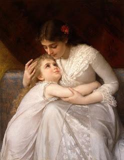 seorang ibu memeluk anaknya