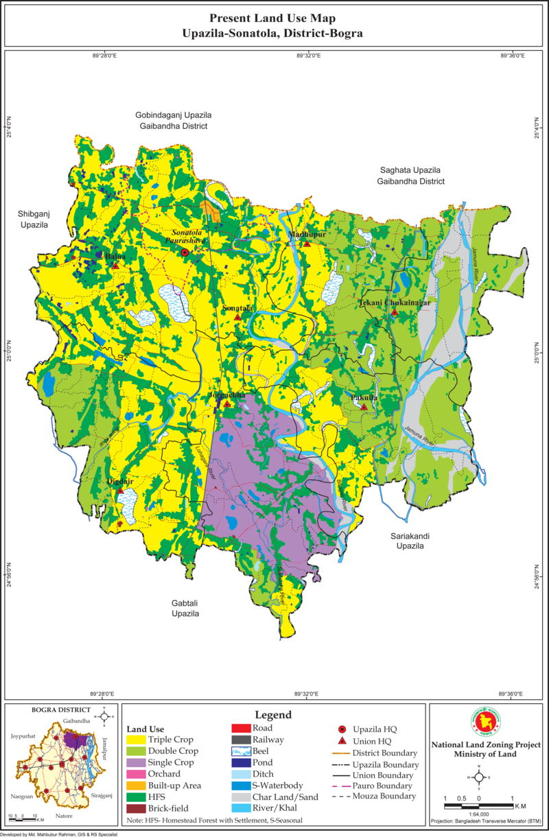 Sonatola Upazila Land Use Mouza Map Bogra District Bangladesh