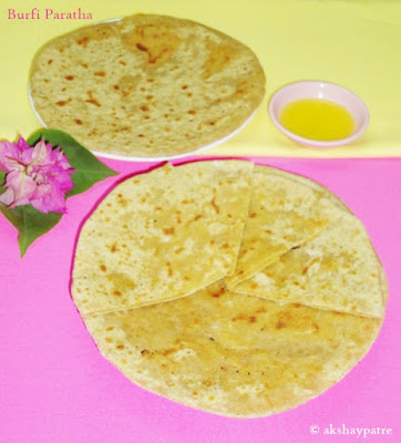 sweet burfi paratha in a serving plate