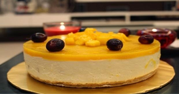 No-Baked Mango Yogurt Cheesecake Recipe