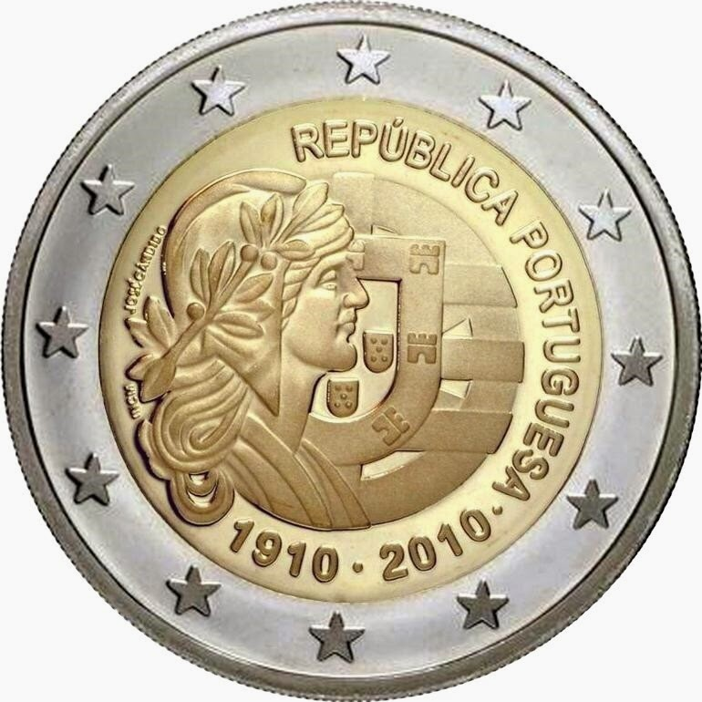 2 Euro Commemorative Coins 2010 Republic Portugal