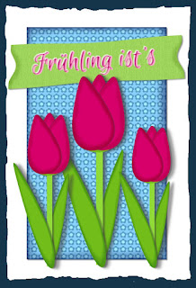 Karte mit Tulpen