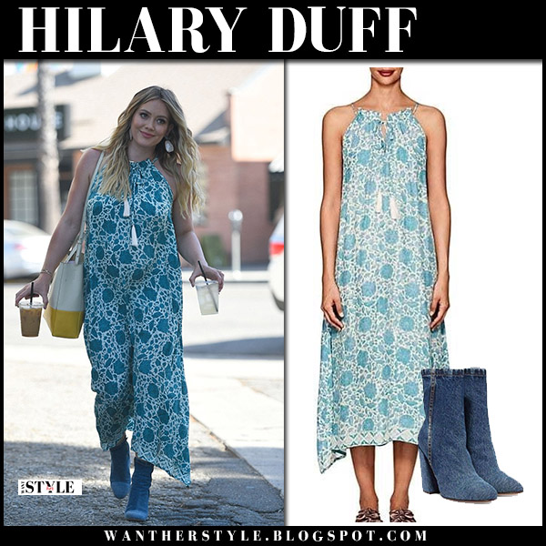 Hilary Duff in blue printed dress natalie martin and blue denim boots dries van noten maternity style july 13