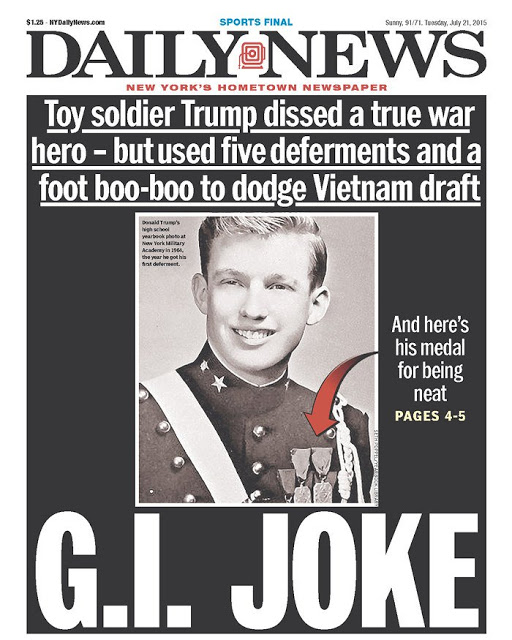 Daily News cover. GI Joke. Toy soldier Trump dissed war hero - five deferments to dodge Vietnam Draft. Medal for being neat. Mutual Assured Lunacy, postscript and Other stories of Trump and Megalomaniacs. marchmatron.com