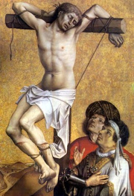 En la imagen San Dimas, el buen ladron, atado a la cruz.