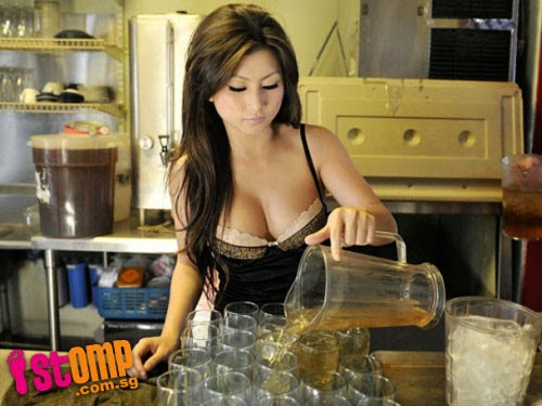 In more sophisticated Kopitiam in Malaysia, Kuala Lumpur, the beer girls are more sexy.