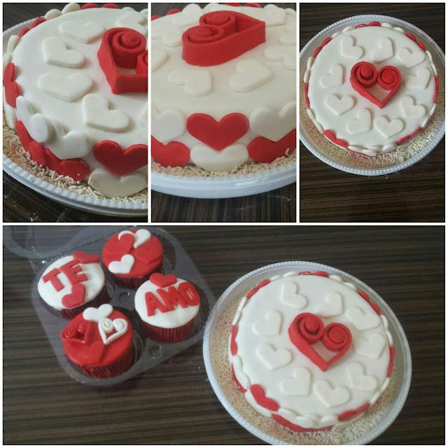 Bolo e Cupcakes - Corações
