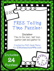 FREE Telling time puzzles