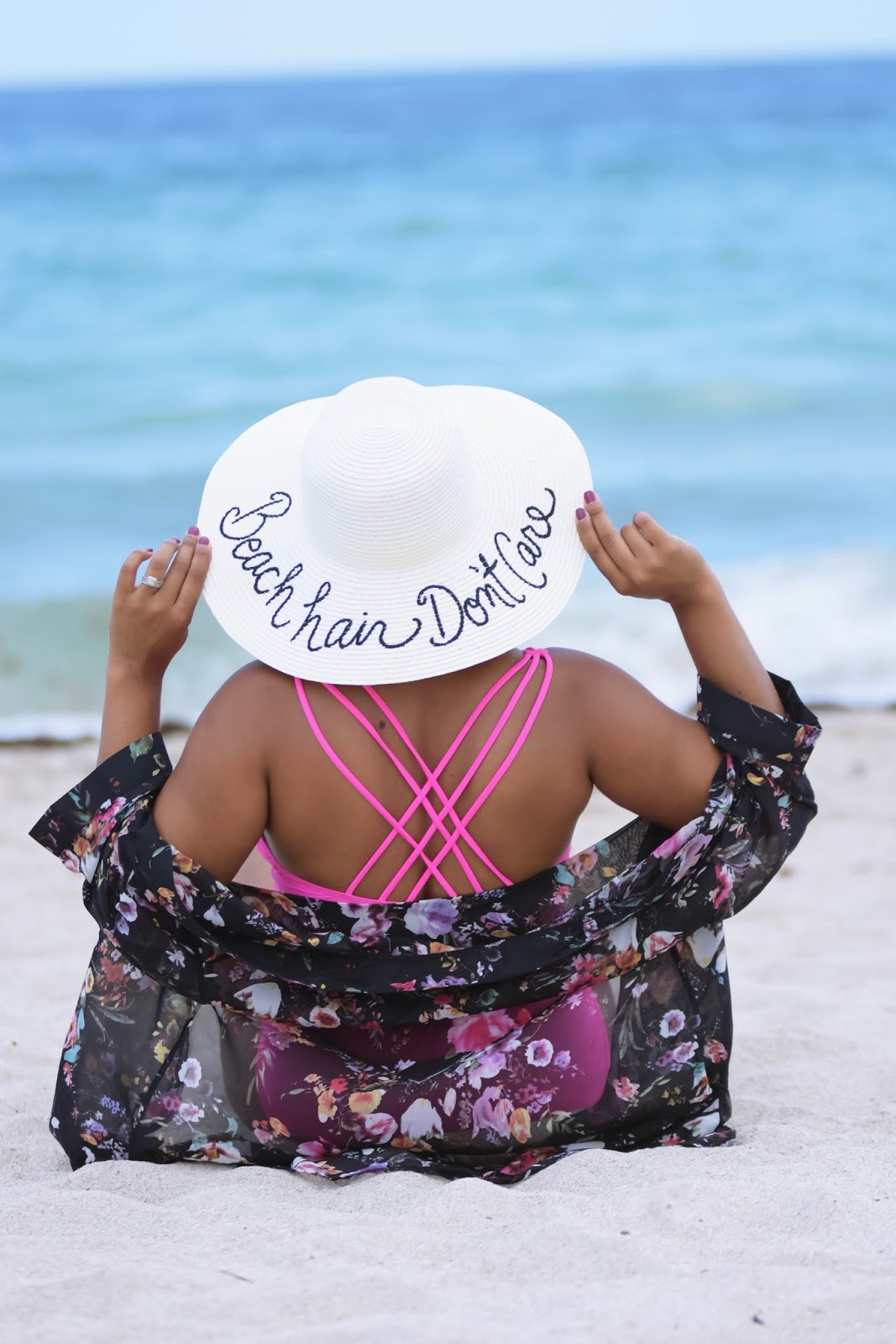 Beach, beach hat, beach hair, sand, beach outfit, miami beach, south beach, blue water, pink bathing suit, one piece swimsuit, floral kimono
