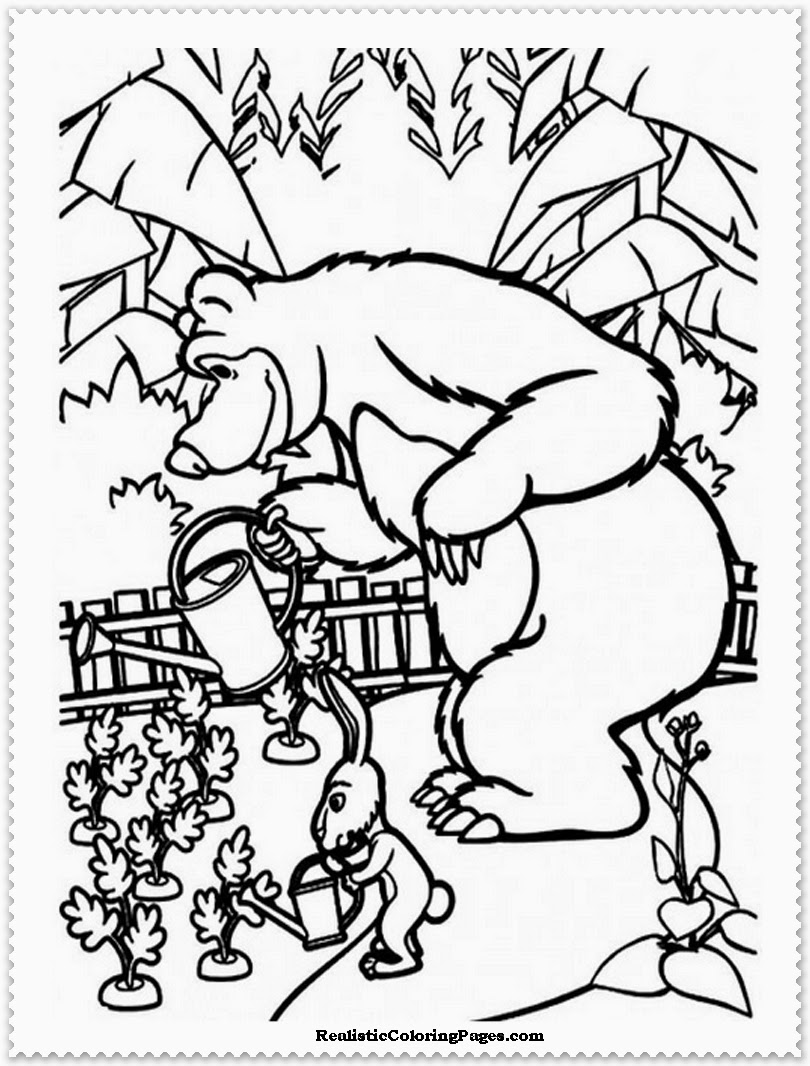 masha and the bear coloring book pages printable