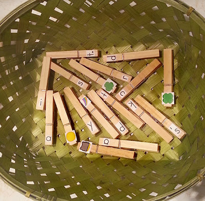 NAMC st. patrick's day montessori activities fine motor skills clothespin basket matching
