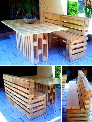 Kitar Semula-recycle idea Kerusi Meja dari Pallet Terbuang