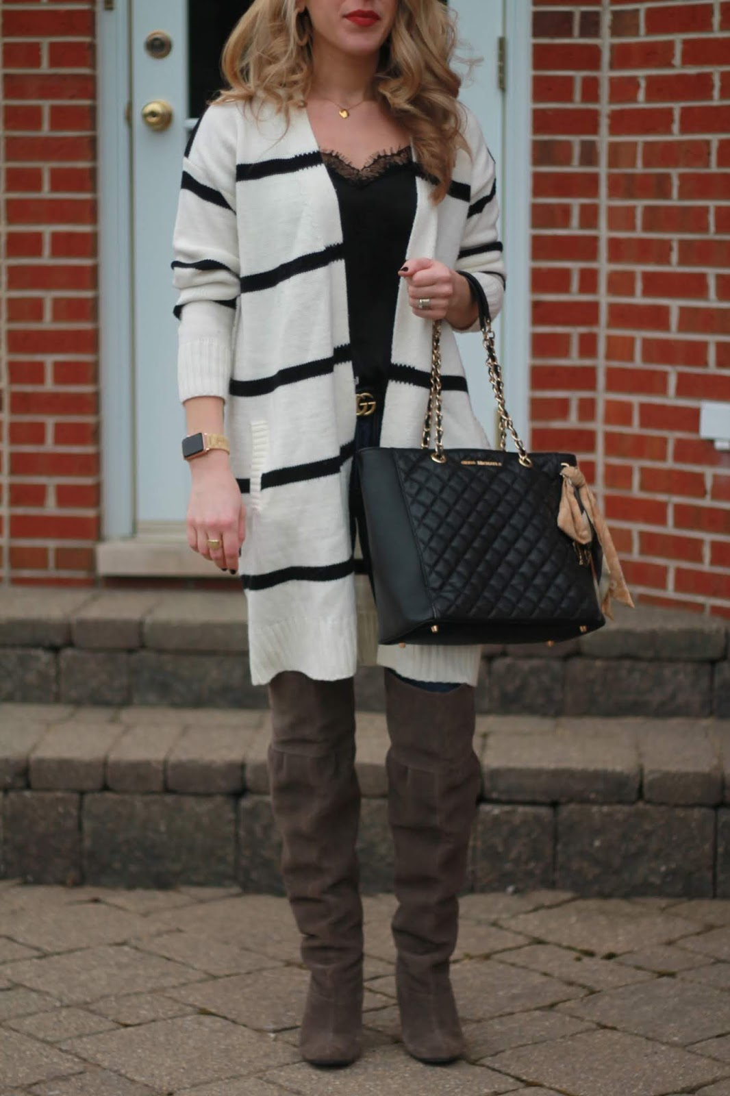 striped cardigan, black lace cami, black leather quilted tote, grey OTK boots