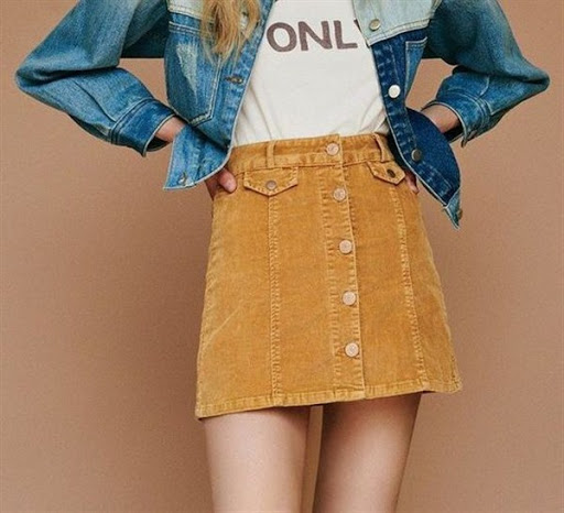 Button-Front Corduroy Mini Skirt