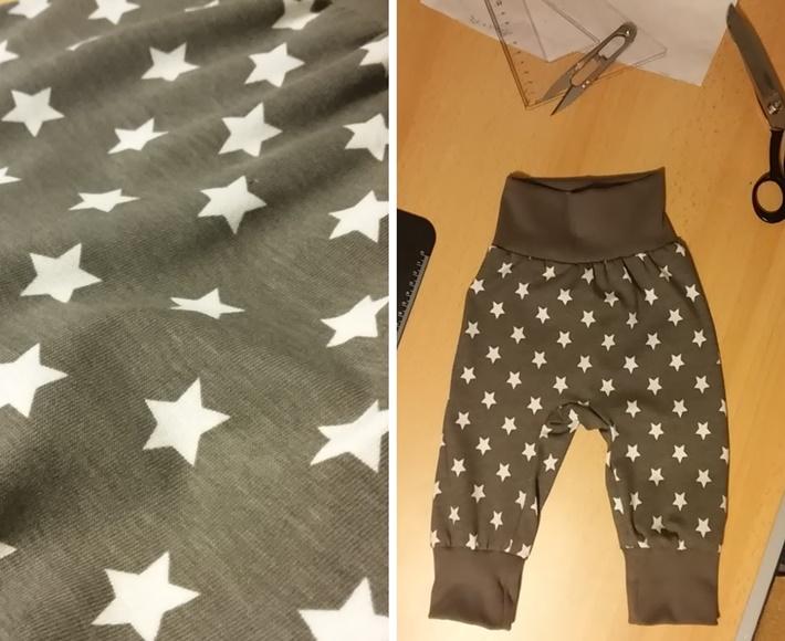 Baby Mitwachshose selbstgenaeht grau mit Sternen